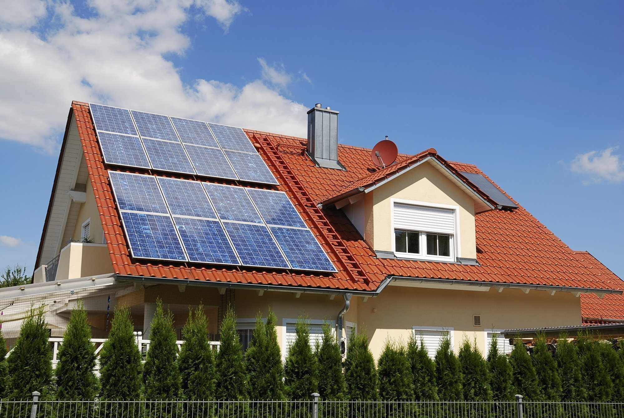 Home with Solar energy panels