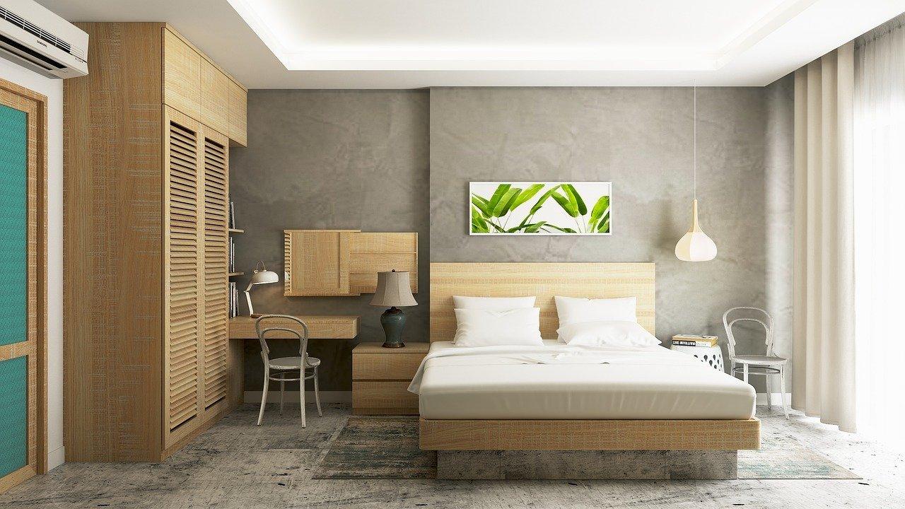 bedroom showing the benefits of concrete flooring