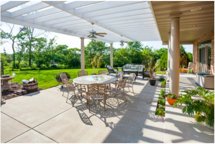 great concrete patio ideas for a large area