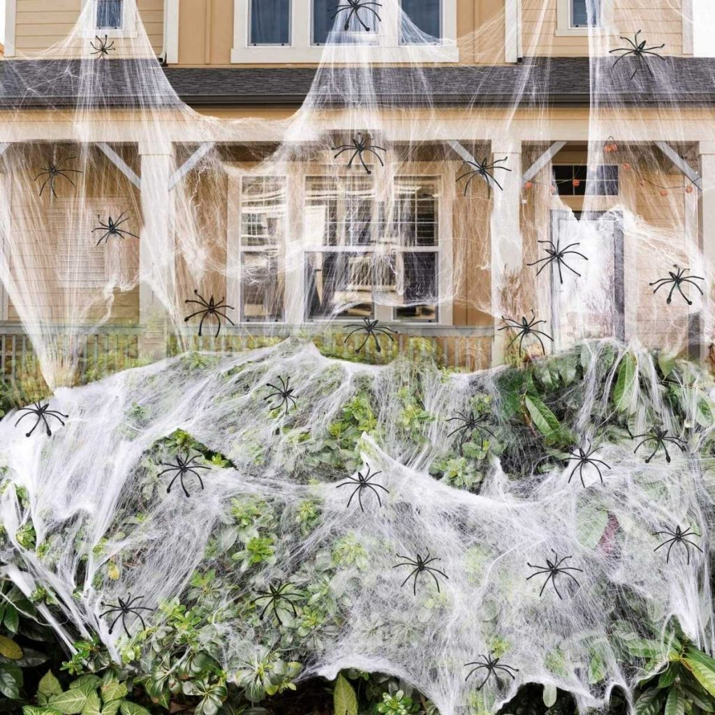 Spider Web with Spiders Halloween Decor