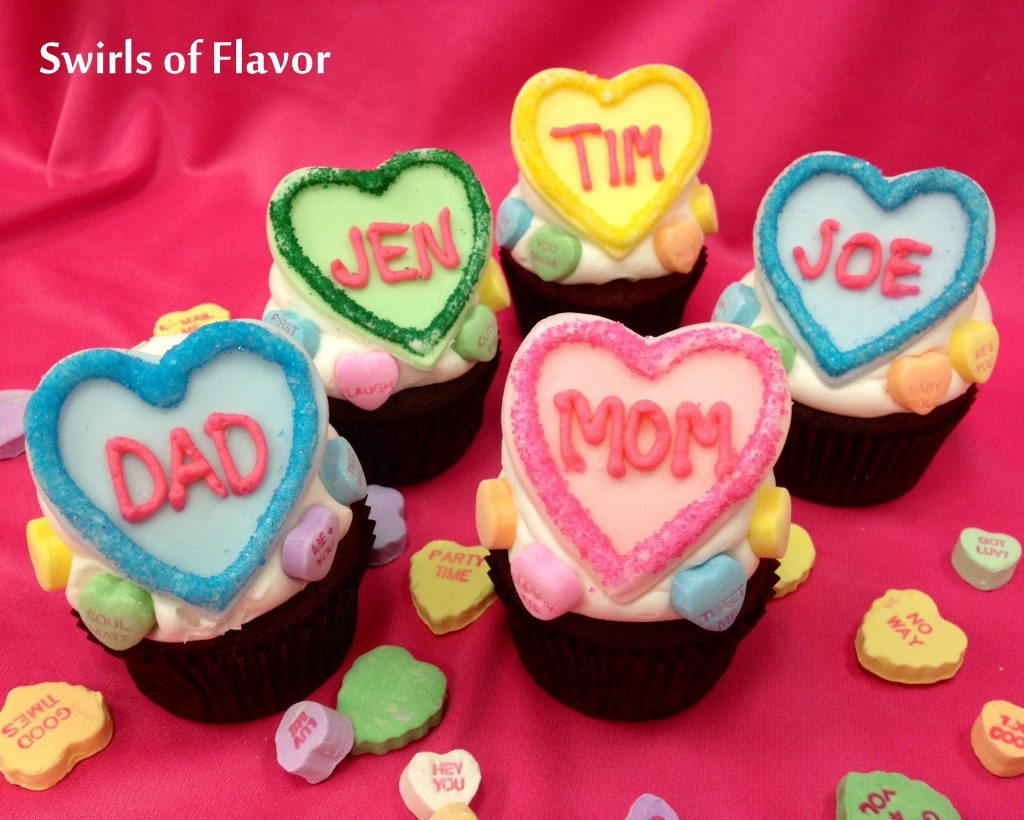 Personalized Conversation Heart Valentine Cupcakes